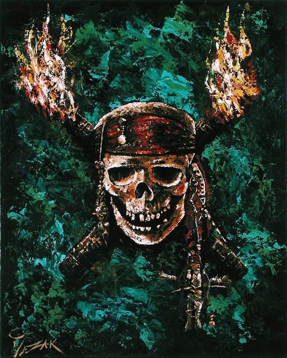 Trevor Mezak Dead Mans Chest Original Acrylic on Canvas