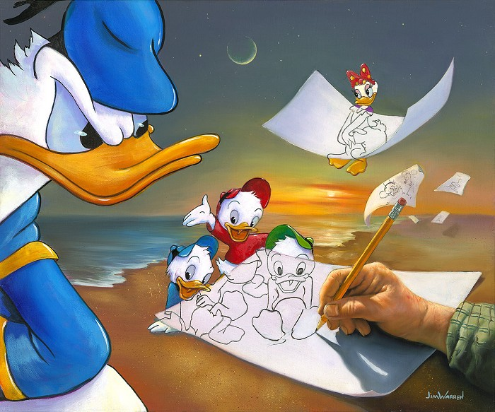 Jim Warren Donald Duck Off the Page Hand-Embellished Giclee on Canvas