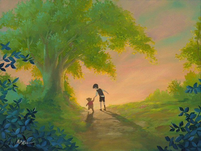 Rob Kaz  WALKING THE PATH TOGETHER Original Oil on Canvas