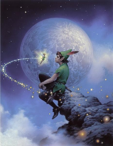 Tsuneo Sanda Peter Pan Always Together Hand Embelleshed Giclee On Canvas