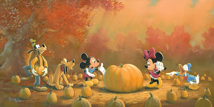 Rob Kaz  Picking the Perfect Pumpkin Hand-Embellished Giclee on Canvas