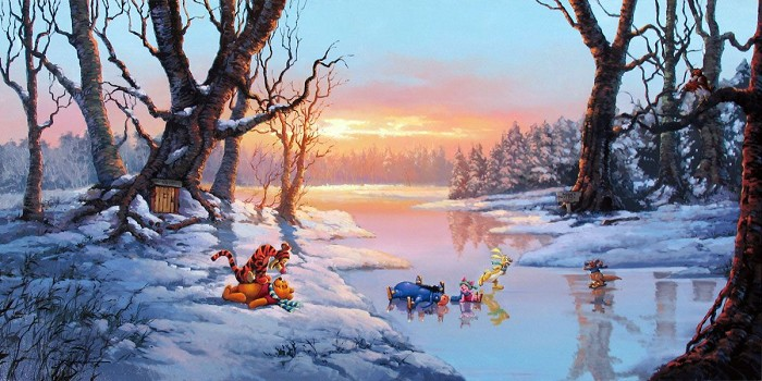 Rodel Gonzalez Playful Afternoon - From Disney Winnie the Pooh Hand-Embellished Giclee on Canvas