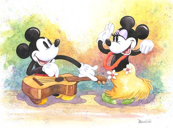 Michelle St Laurent Play Me A Tune Mickey And Minnie Custom Framed Original Watercolor on Paper