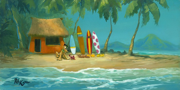 Rob Kaz  Pluto's Surf Hut Original  Original Oil on Canvas