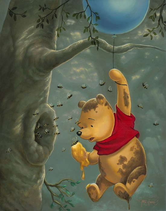 Jared Franco Pooh's Sticky Situation Gallery Wrapped Hand-Embellished Giclee on Canvas