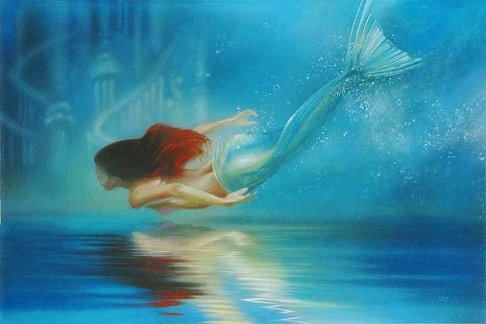 John RoweUnderwater Princess - From Disney The Little MermaidGiclee On Canvas