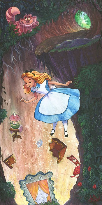 James C Mulligan Down the Rabbit Hole From Alice In Wonderland Hand-Embellished Giclee on Canvas