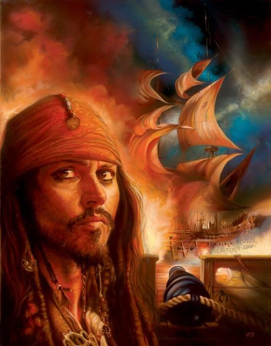 John RoweMidnight Raid - From Disney Pirates of the CaribbeanGiclee On Canvas
