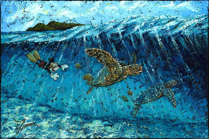 Trevor MezakReef Diver MickeyOriginal Acylic on Canvas