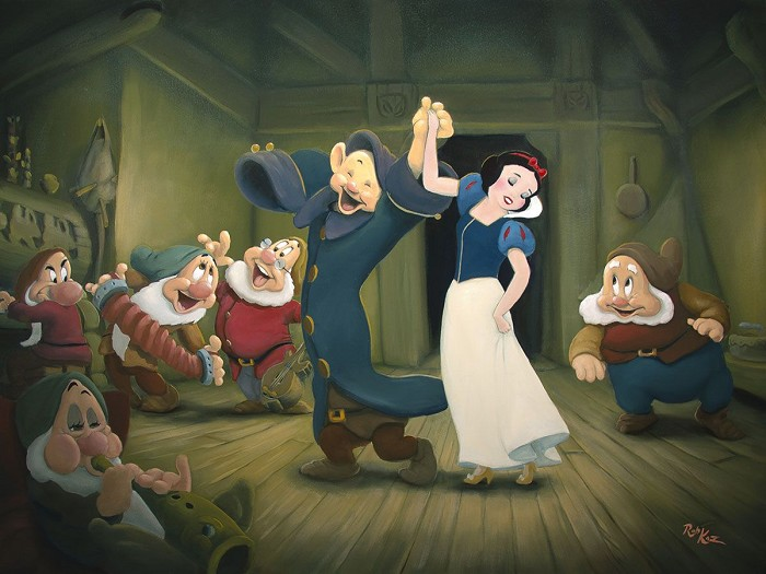 Rob Kaz Three for the Dance - From Disney Snow White and the Seven DwarfsHand-Embellished Giclee on Canvas