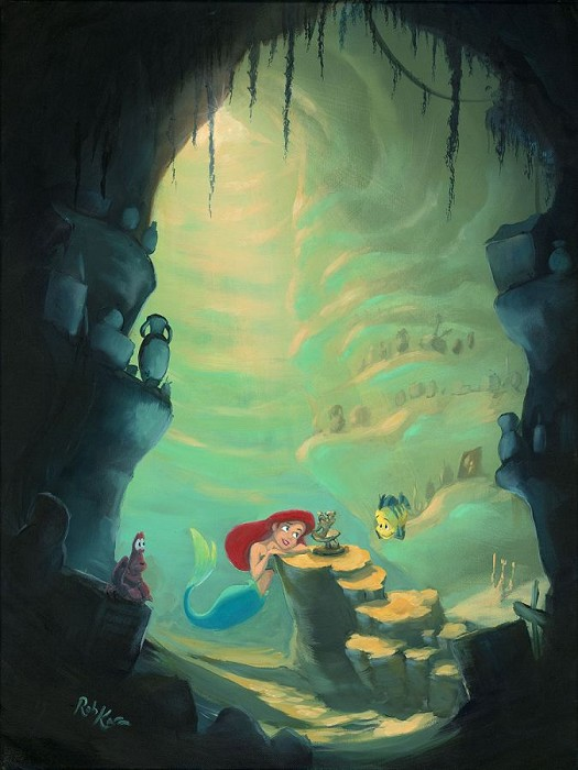 Rob Kaz  Treasure Trove - From Disney The Little Mermaid Giclee On Canvas