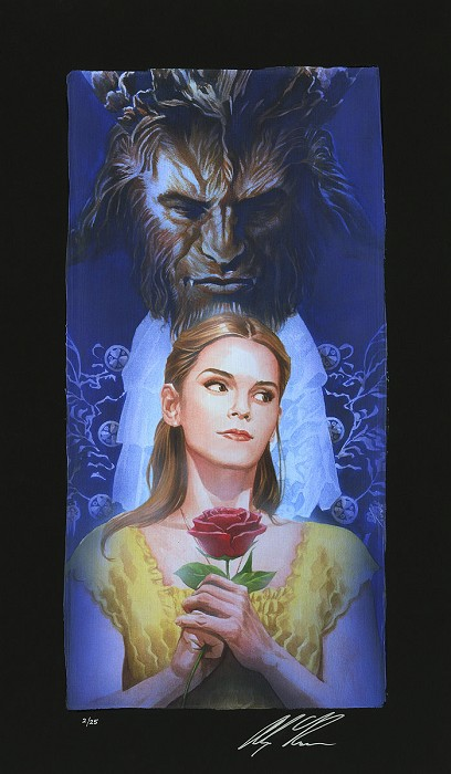 Alex Ross Disney La Belle Et La Bete Chiarograph on Black Paper From Beauty and The Beast