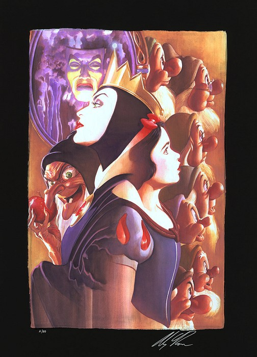 Alex Ross DisneyOnce There Was a Princess From Beauty and The Beast Chiarograph on Black Paper