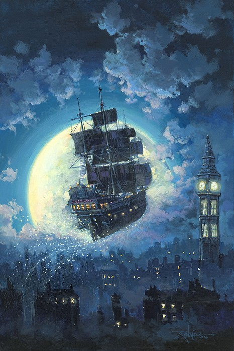 Rodel Gonzalez Sailing Into the Moon Hand-Embellished Giclee on Canvas