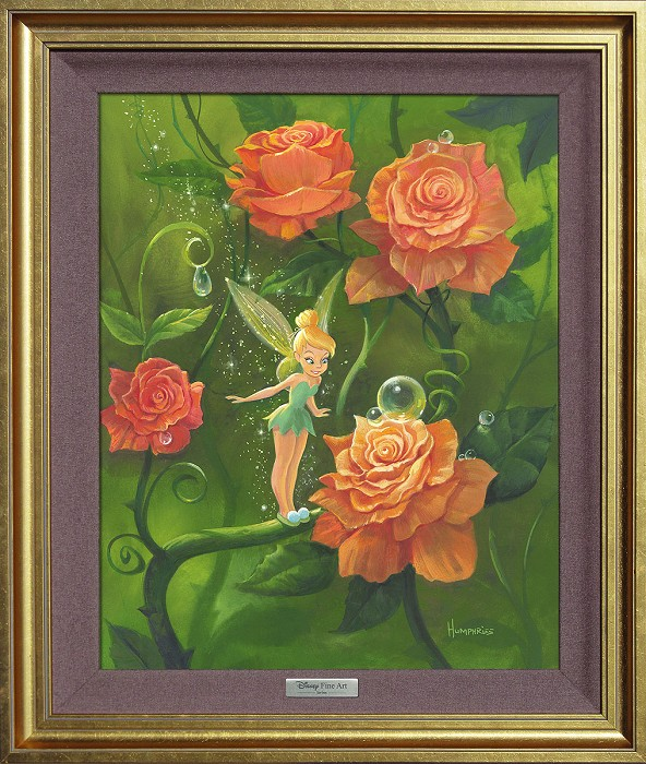 Michael Humphries Tinker Bell's Garden Framed Giclee On Canvas