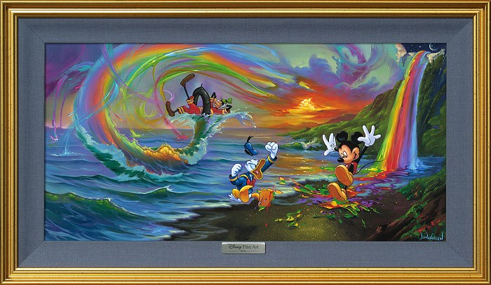 Jim Warren Mickey and the Boys at Rainbow Falls Giclee On Canvas