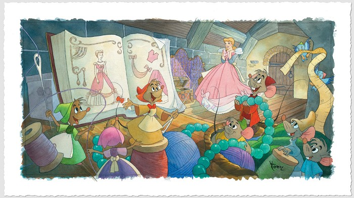Toby Bluth Sew Beautiful Cinderella Giclee On Paper