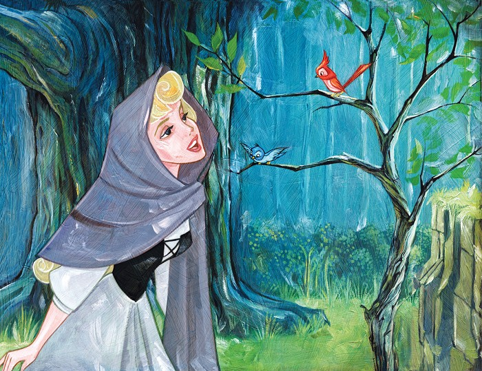 Jim Salvati Singing With The Birds - From Disney Sleeping Beauty Giclee On Canvas
