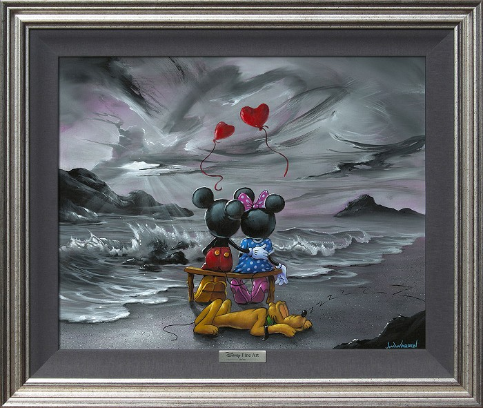Jim Warren Mickey and Minnie Forever Love Giclee On Canvas