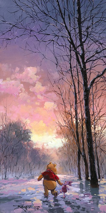 Rodel Gonzalez Snowy Path From Winnie The Pooh  Hand-Embellished Giclee on Canvas