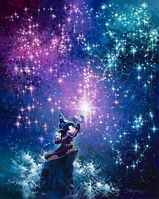 Rodel Gonzalez Sorcerer Mickey Hand-Embellished Giclee on Canvas