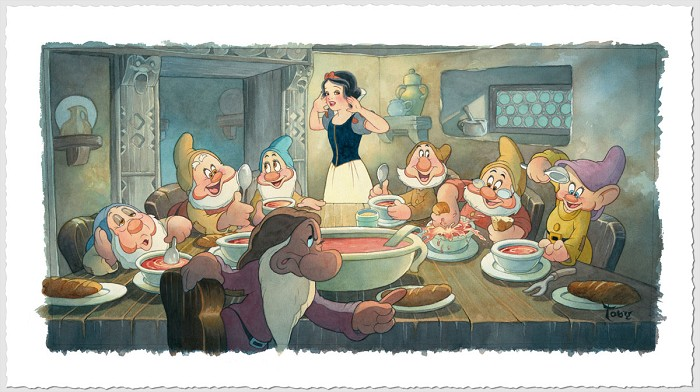 Toby Bluth The Lost Soup Scene Snow White And The Seven Dwarfs Giclee On Paper