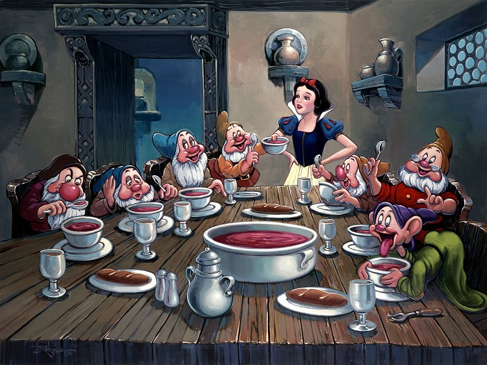 Rodel Gonzalez Soup for Seven From Snow White and the Seven Dwarfs Hand-Embellished Giclee on Canvas