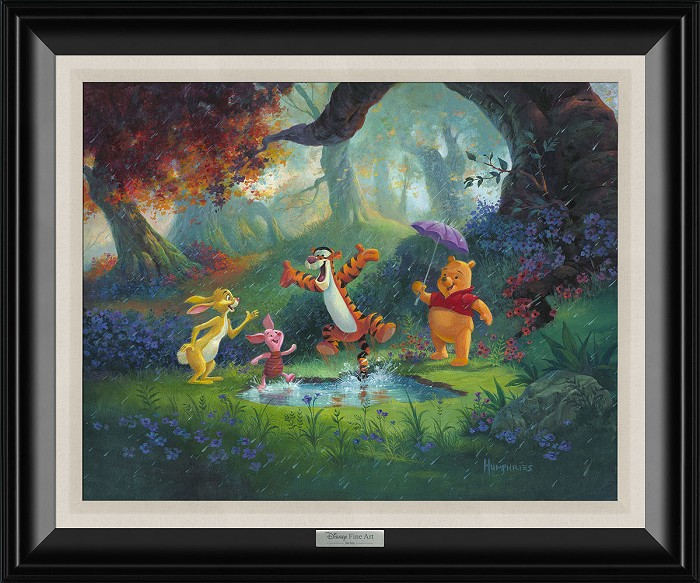 Michael Humphries Puddle Jumping Framed Giclee On Canvas