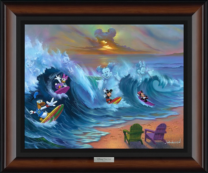Jim Warren Surfing with Friends Giclee On Canvas