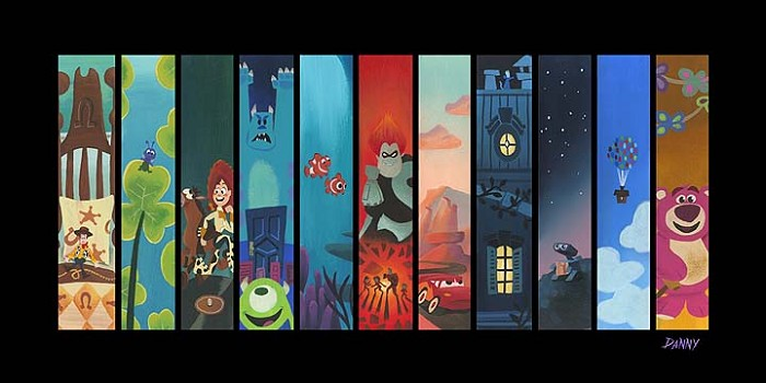 Daniel Arriaga The Pixar Storyline Hand Embellished Giclee on Canvas
