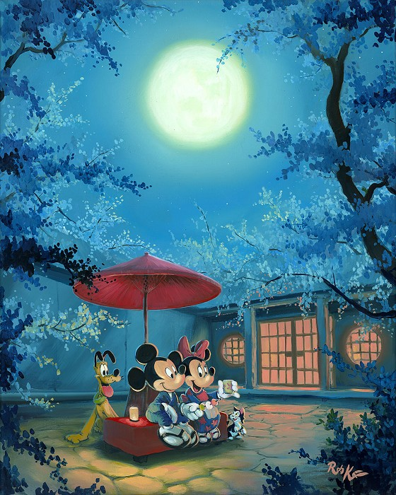 Rob Kaz  Summer Night Mickey Minnie and Pluto Hand-Embellished Giclee on Canvas