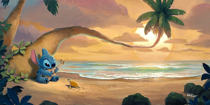 Rob Kaz Sunset Serenade From Lilo and StitchHand-Embellished Giclee on Canvas