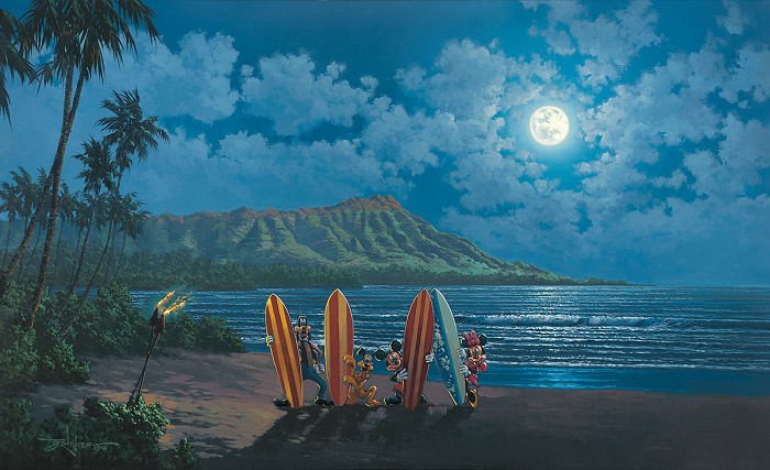 Rodel Gonzalez Moonlight Surf Crew Hand-Embellished Giclee on Canvas