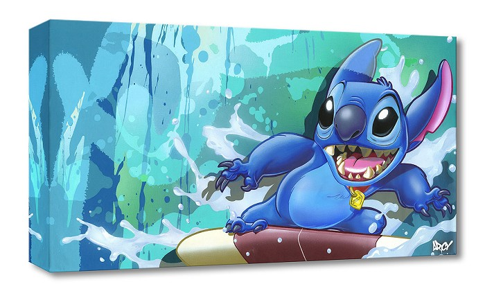 Arcy Surf Rider Stitch From Lilo and Stitch Gallery Wrapped Giclee On Canvas