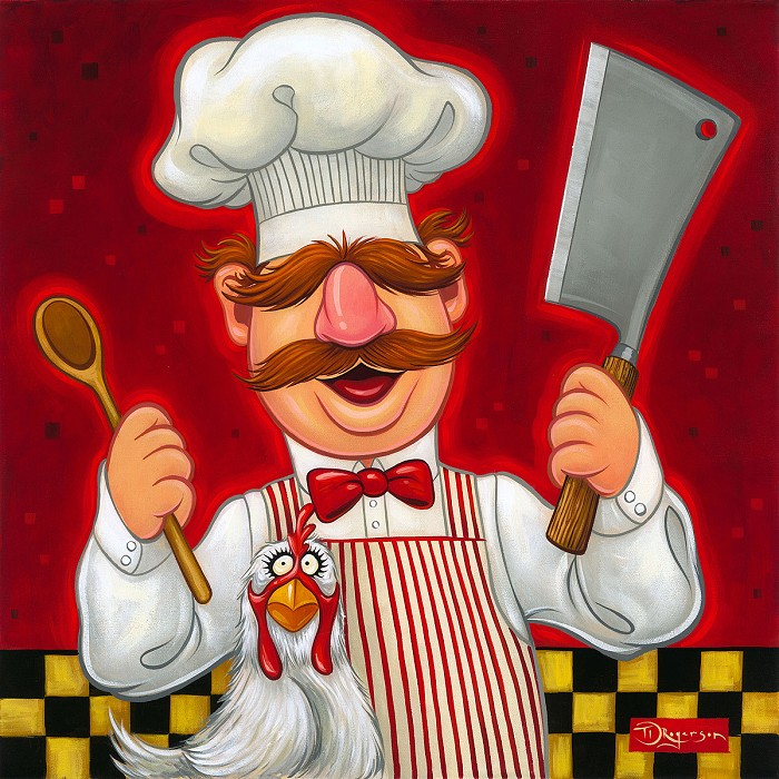 Tim Rogerson Swedish Chef Hand-Embellished Giclee on Canvas