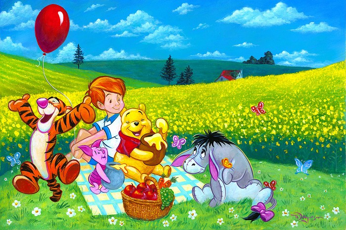 Tim Rogerson Summer Picnic From Winnie The Pooh Hand-Embellished Giclee on Canvas