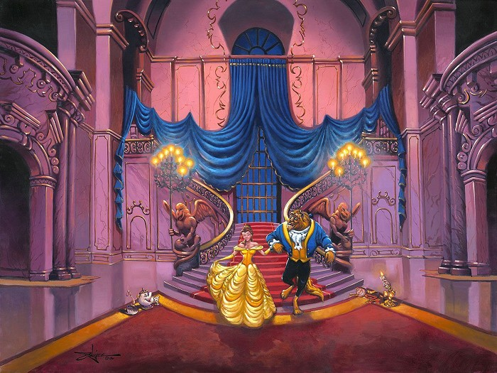 Rodel Gonzalez Tale as Old as Time - From Disney Beauty and The Beast Hand-Embellished Giclee on Canvas