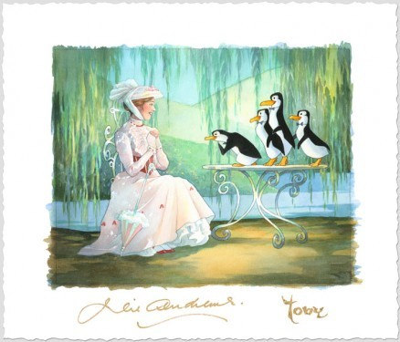 Toby Bluth Mary Poppins and Merry Peguins Giclee On Paper