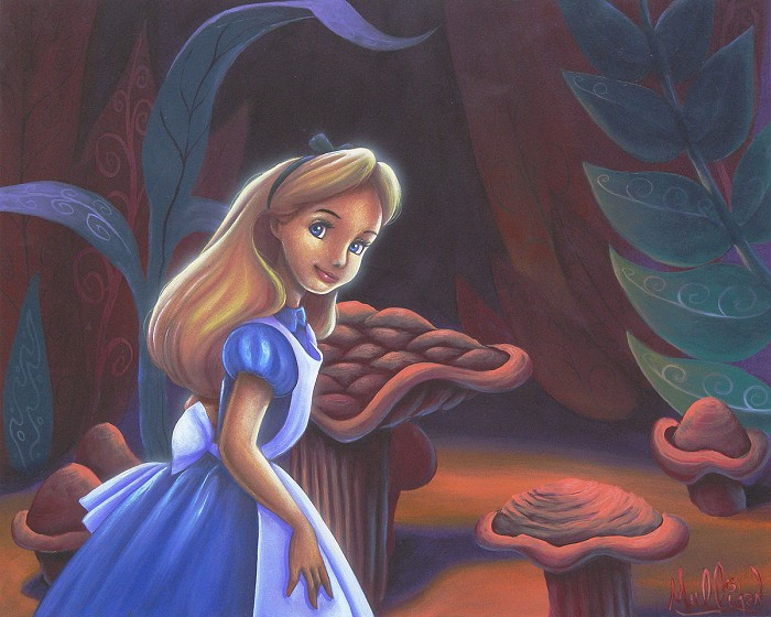 James C Mulligan The Curiosity of Alice From The Movie Alice In Wonderland Original Acylic on Board