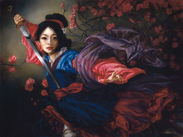 Heather Edwards The Elegant Warrior From Mulan Hand-Embellished Giclee on Canvas