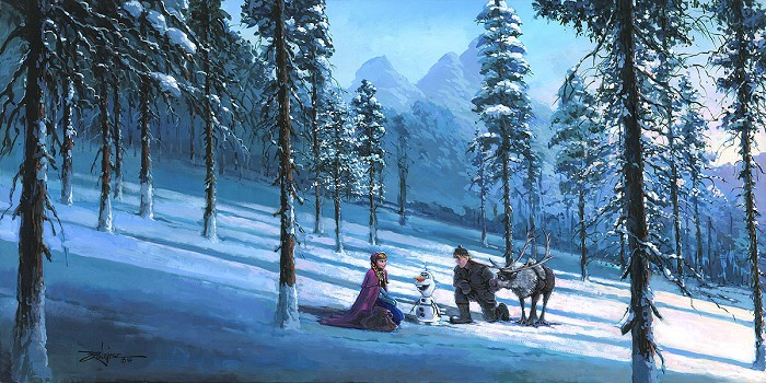 Jim Salvati The Coldest Day From The Movie Frozen Hand-Embellished Giclee on Canvas