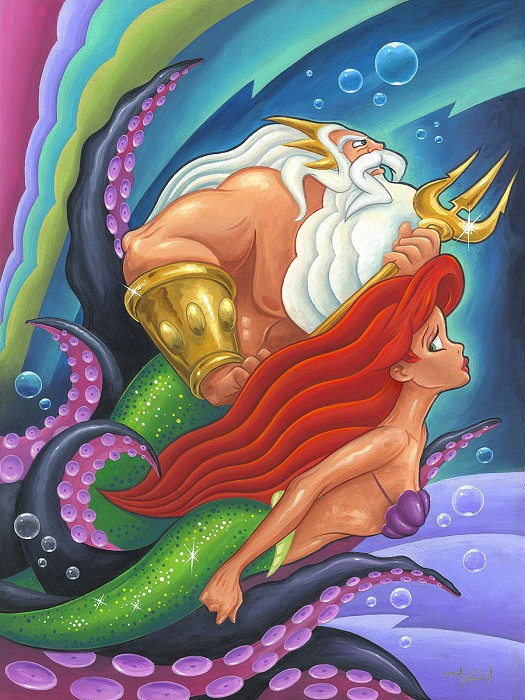 Mike Kungl The Escape From The Little Mermaid Hand-Embellished Giclee on Canvas