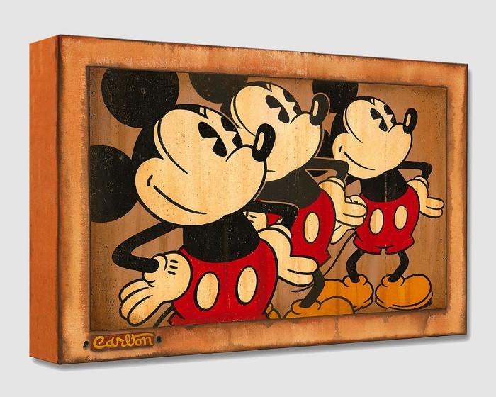 Trevor CarltonThree Vintage MickeysGallery Wrapped Giclee On Canvas