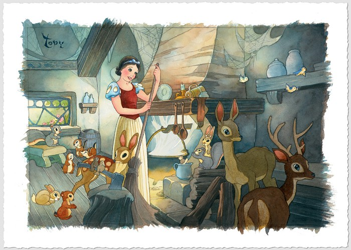 Toby Bluth Tidying Up - From Disney Cinderella Giclee On Canvas
