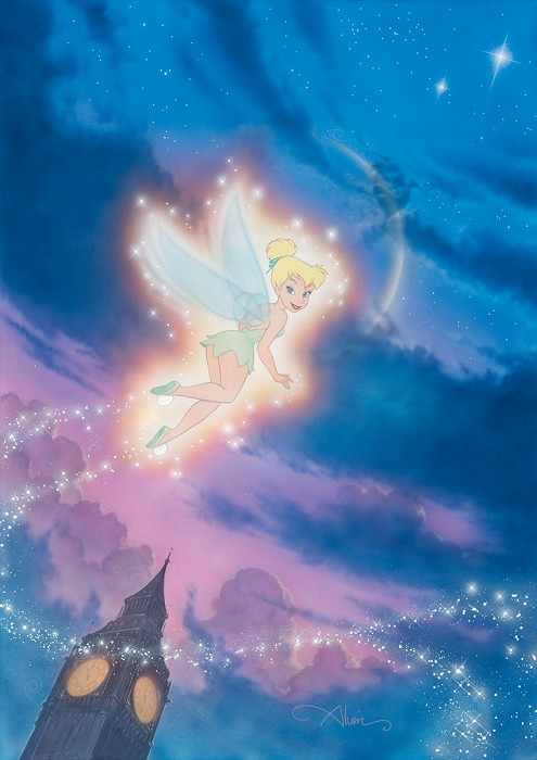John Alvin Tink Shows The Way Tinkerbell - From Disney Peter Pan Giclee On Canvas