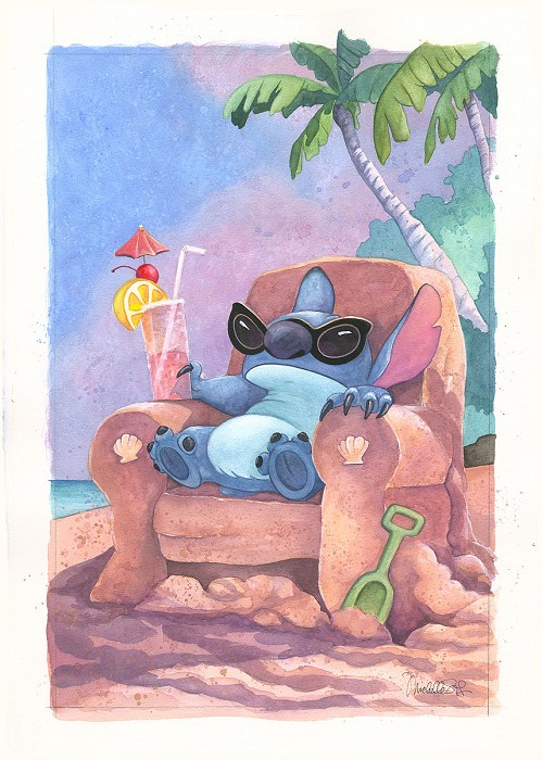 Michelle St Laurent The Life On Earth From Disney Lilo And Stitch Custom Framed Original Watercolor on Paper