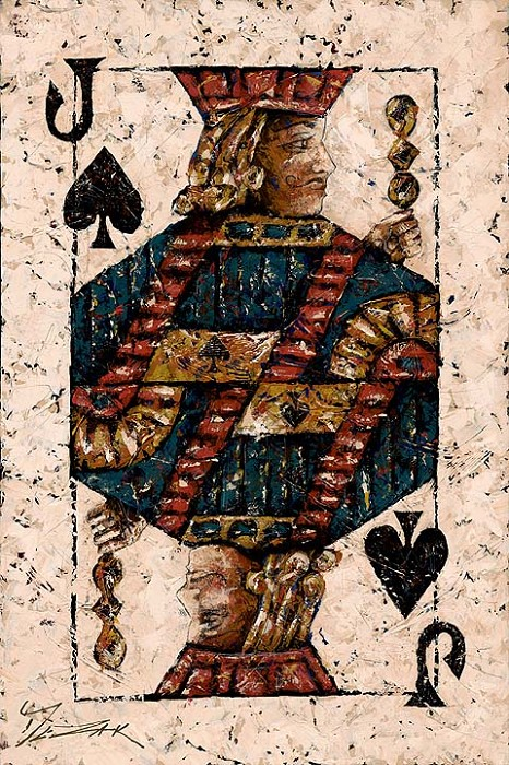 Trevor Mezak Jack of Spades Hand-Embellished Giclee on Canvas