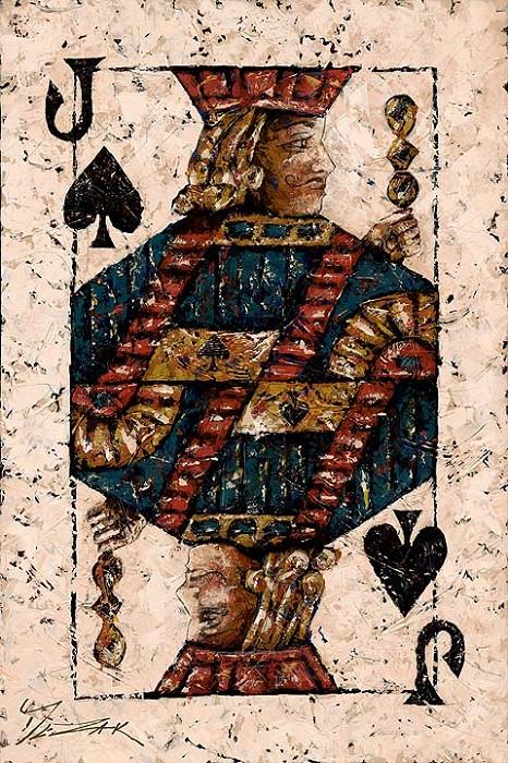 Trevor MezakJack of SpadesHand-Embellished Giclee on Canvas