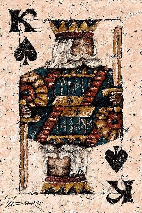 Trevor Mezak King of Spades Hand-Embellished Giclee on Canvas