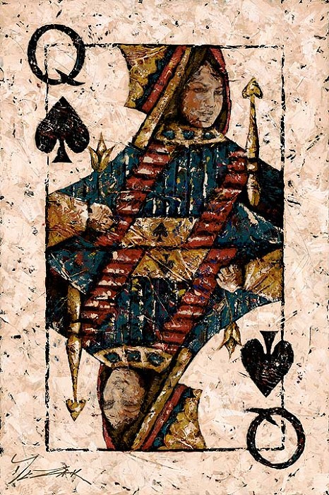 Trevor Mezak Queen of Spades Hand-Embellished Giclee on Canvas